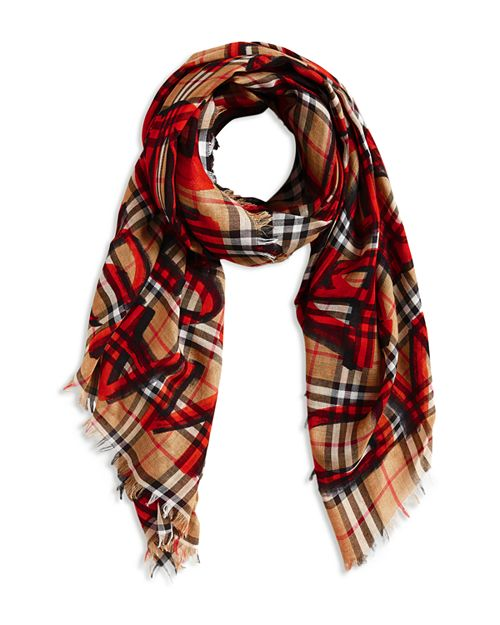 Burberry - Marker Text Check Gauze Scarf