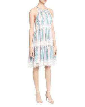Sidonie Lace-Trimmed Knee-Length Dress, Faded Stripe
