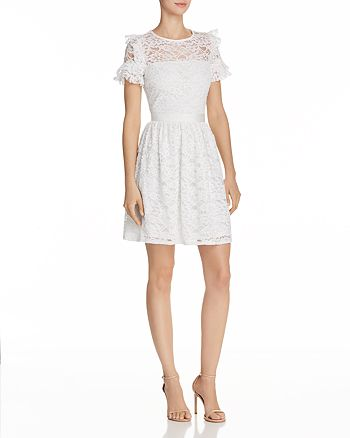 AQUA - Ruffled Lace Fit-and-Flare Dress - 100% Exclusive