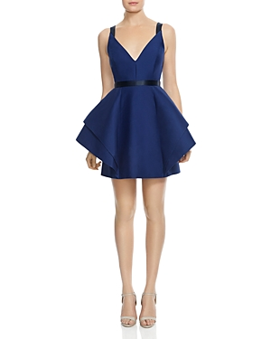Halston Heritage Structured Ruffled Fit-and-Flare Dress