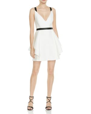 Halston Heritage Structured Ruffled Fit-and-Flare Dress 2978615