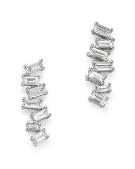 KC Designs - 14K White Gold Mosaic Diamond Baguette Bar Earrings