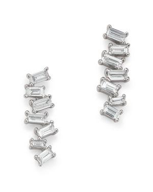 KC DESIGNS 14K WHITE GOLD MOSAIC DIAMOND BAGUETTE BAR EARRINGS