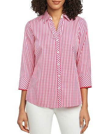 Foxcroft - Mary Gingham Button-Down Top