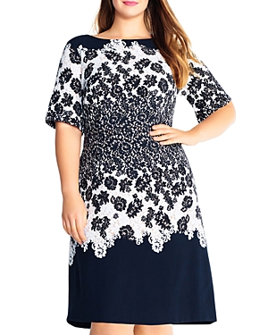 New Adrianna Papell Plus Lace Print Fit-and-Flare Dress, Black Multi
