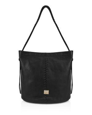 KOOBA Limon Leather Bucket Bag in Black/Gold