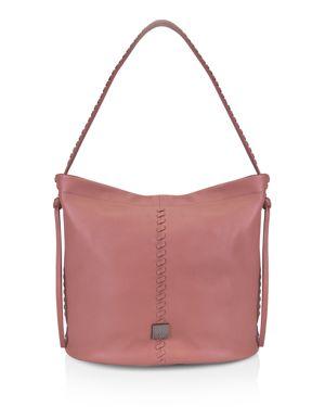 KOOBA Limon Leather Bucket Bag in Guava Pink/Gunmetal