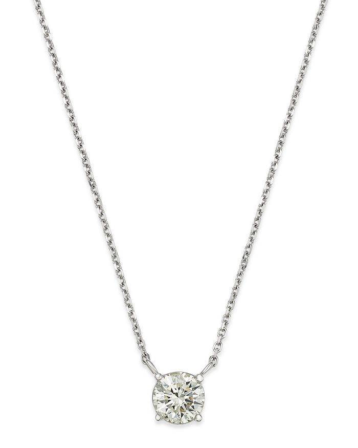 Bloomingdale's - Diamond Solitaire Pendant Necklace in 14K White Gold - 100% Exclusive