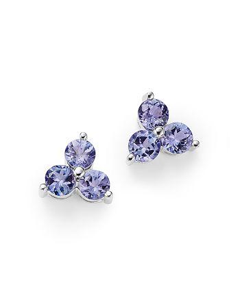 Bloomingdale's - Tanzanite Three Stone Stud Earrings in 14K White Gold - 100% Exclusive
