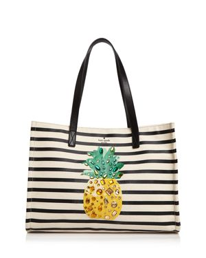 kate spade new york By The Pool Pineapple Mega Sam Embellished Canvas Tote 2977901