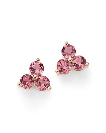 Bloomingdale's - Pink Tourmaline Three Stone Stud Earrings in 14K Rose Gold - 100% Exclusive