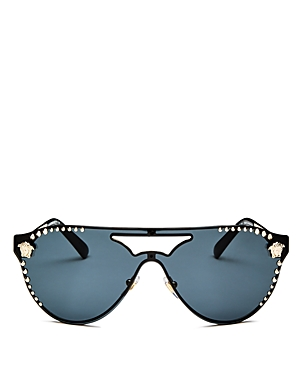 ee543eeed0 Versace Men S Metal-Studded Shield Sunglasses In Gold
