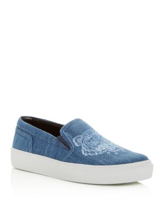 womens-special-tiger-embroidered-denim-slip-on-sneakers by kenzo