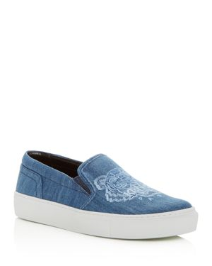 WOMEN'S SPECIAL TIGER EMBROIDERED DENIM SLIP-ON SNEAKERS