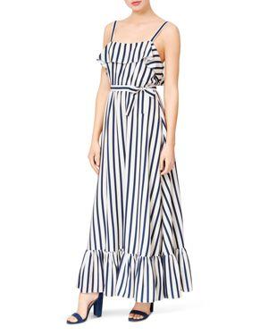 BETSEY JOHNSON Striped Ruffled Maxi Dress in Navy/White
