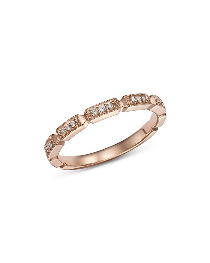 Bloomingdale's - Pavé Diamond & Milgrain Band in 14K Rose Gold, 0.25 ct. t.w. - 100% Exclusive