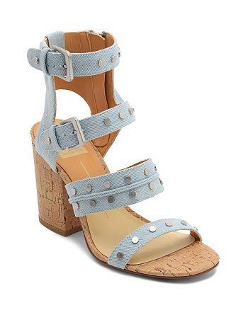 4335ba2a391 Dolce Vita Women s Eddie Denim High Block Heel Gladiator Sandals ...