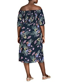 City Chic Plus - Exotic Floral Off-the-Shoulder Midi Dress