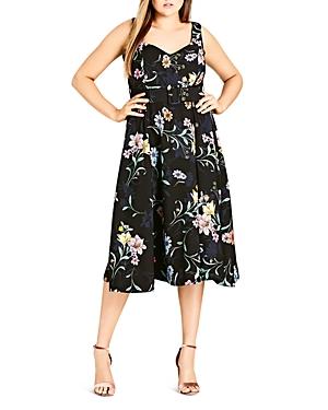 City Chic Plus Sketch Love Floral Dress
