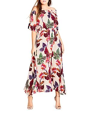 City Chic Plus Tropical Off-the-Shoulder Maxi Dress