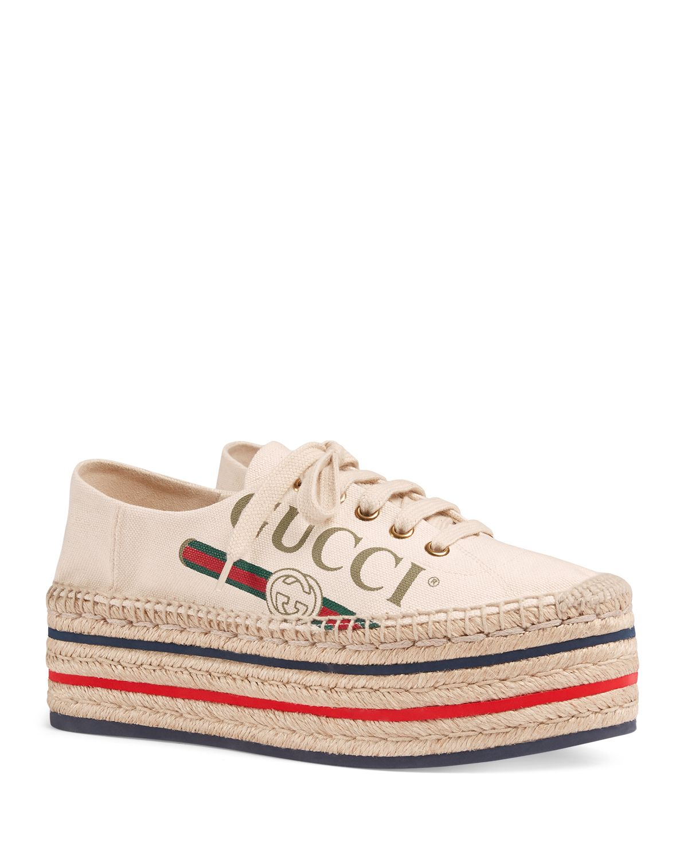 Womens Lilibeth Canvas Platform Espadrille Sneakers Gucci