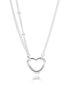 "PANDORA Sterling Silver Open Heart Pendant Necklace, 27.56"" - Bloomingdale's_0"