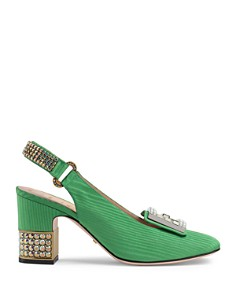 Gucci - Women's Madelyn Silk Satin & Crystal G Mid Heel Pumps