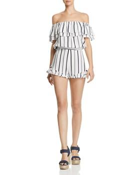 Blu Pepper - Striped Ruffle-Hem Shorts