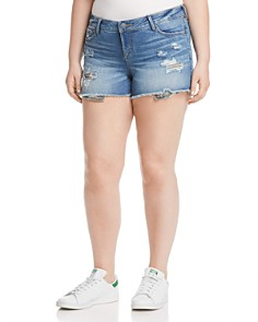 SLINK Jeans Plus - Camo Pocket Distressed Denim Shorts