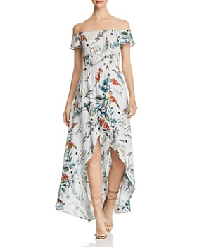 Elan - Off-the-Shoulder High/Low Maxi Dress