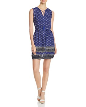 BeachLunchLounge - Printed Sleeveless Shirt Dress