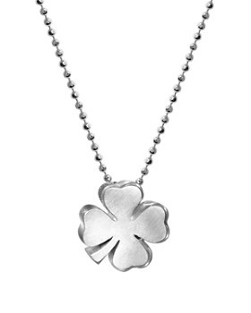 """Alex Woo - Sterling Silver Luck Clover Bloom Necklace, 16"""""""