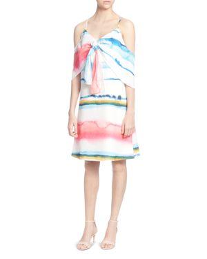 CATHERINE CATHERINE MALANDRINO EDEN WATERCOLOR PRINT COLD-SHOULDER DRESS