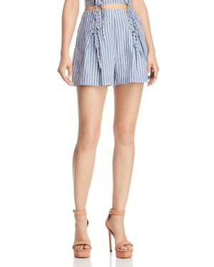 GUESS HERMOSA LACE-UP STRIPED SHORTS