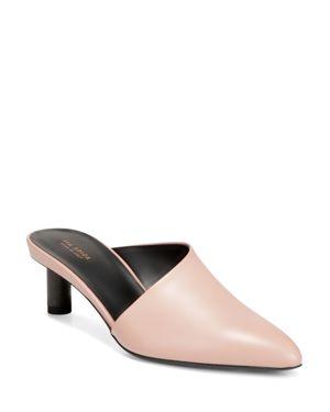 VIA SPIGA Women'S Freya Point-Toe Cylinder-Heel Leather Slide Mules in Sand Leather