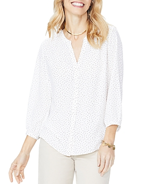 Nydj  PRINTED PINTUCK-BACK BLOUSE