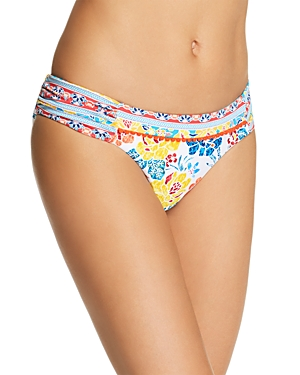 Lucky Brand Las Dalias Shirred Bikini Bottom-Women