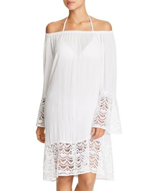 MUCHE ET MUCHETTE Muche Et Muchette Miles Off-The-Shoulder Dress Swim Cover-Up in White