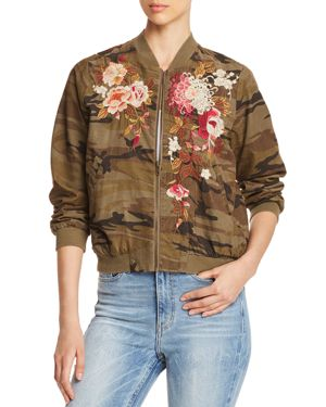 CHRYSTIE EMBROIDERED CAMO CORDUROY BOMBER JACKET