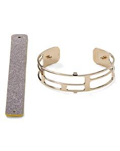 Les Georgettes - Labyrinthe Reversible Two-Tone Open Cuff Bracelet