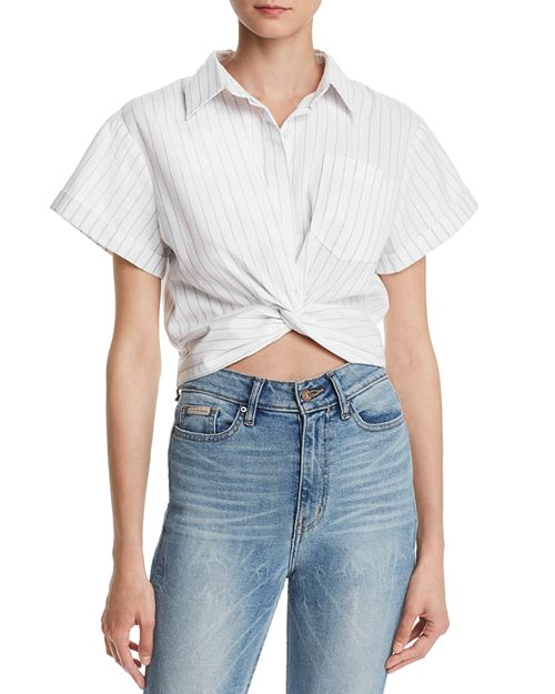 AQUA - Twist-Front Striped Linen Cropped Top - 100% Exclusive