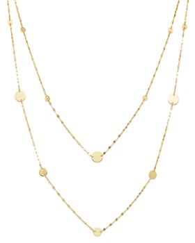 "Moon & Meadow - Layered Flat Link & Disc Station Necklace in 14K Yellow Gold, 16"" - 100% Exclusive"