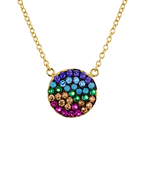 Multi Color Disc Pendant Necklace in Gold Tone-Plated Sterling Silver