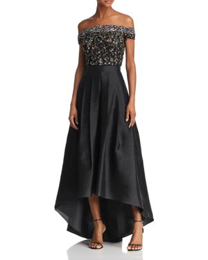 ADRIANNA PAPELL Embellished Off-The-Shoulder Gown, Black Multi