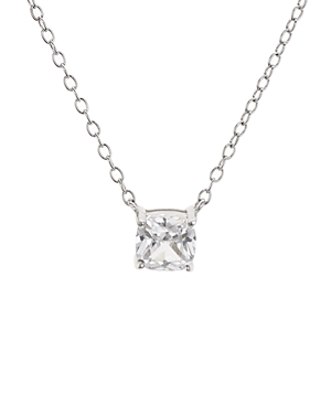 Cushion Cut Cubic Zirconia Pendant Necklace in Platinum-Plated Sterling Silver