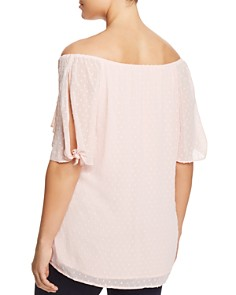 Estelle Plus - Praline Swiss Dot Off-the-Shoulder Top