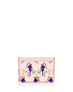 Furla - Babylon Bird Print Small Embossed Leather Card Case