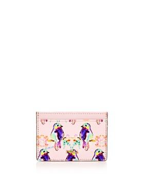 Furla - Babylon Bird Print Small Embossed Leather Card Case