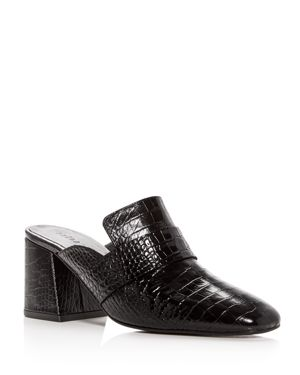 FREDA SALVADOR WOMEN'S CROC-EMBOSSED LEATHER BLOCK-HEEL MULES