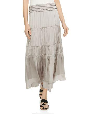 HALSTON HERITAGE - Tiered Smocked Midi Skirt